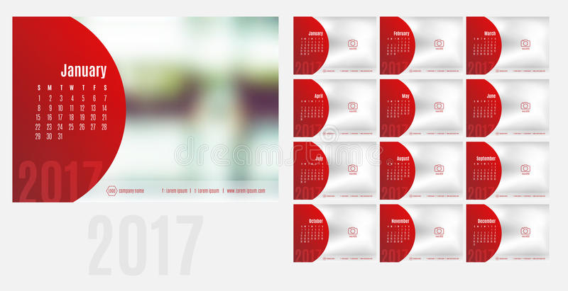 Vector of Calendar 2017 year ,12 month calendar with modern style,week start at Sunday,Template for place your photo.  stock illustration