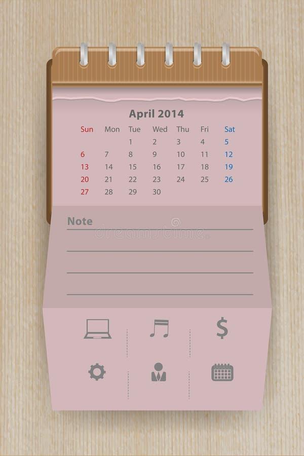 Vector calendario abril de 2014 ilustración del vector