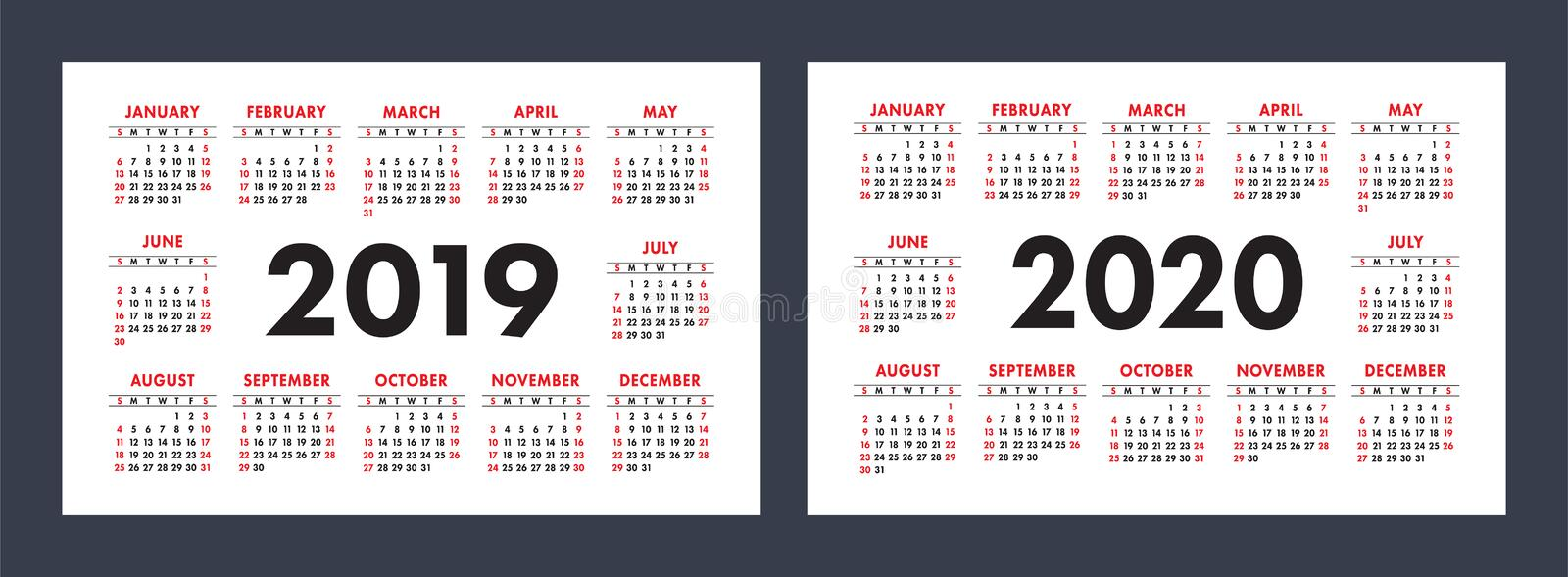 Vector calendars 2019 and 2020 years. Basic minimalistic design royalty free stock images