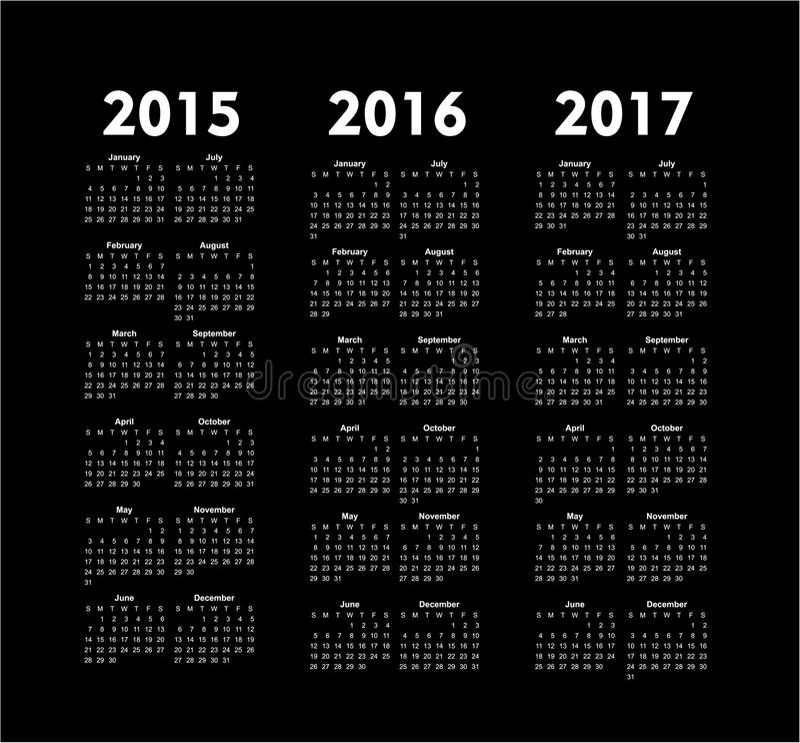 vector calendars 2015 2016 2017 years stock illustration