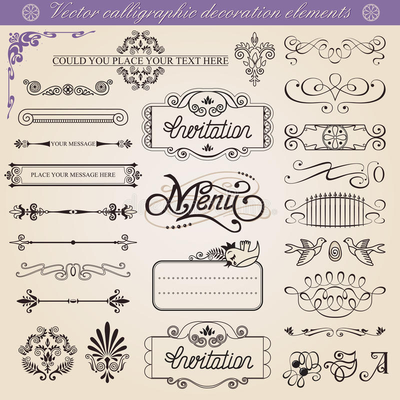 Vector Calligraphic Decoration Elements Set Royalty Free Stock Image