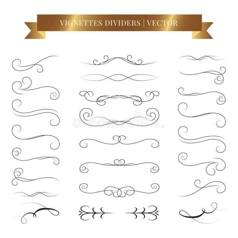 Vintage book vignettes, dividers and separators. Vector calligraphic design set royalty free illustration
