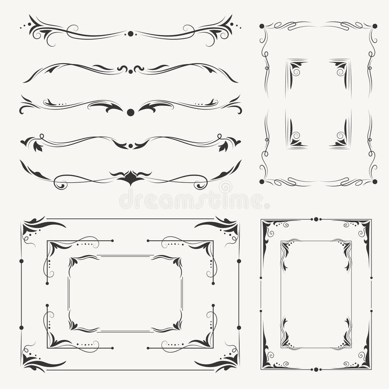 Vector Calligraphic Frames and Vignettes stock illustration