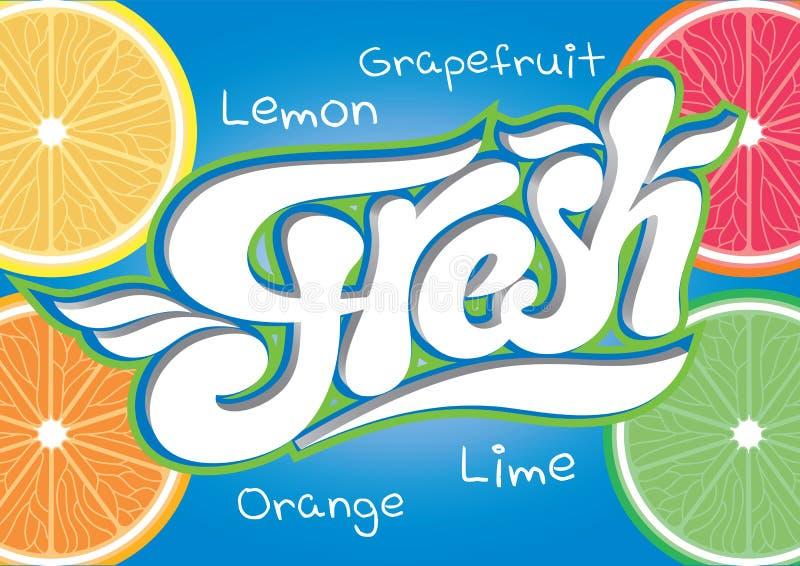 Vector calligraphic inscription fresh juice end water vector illustration