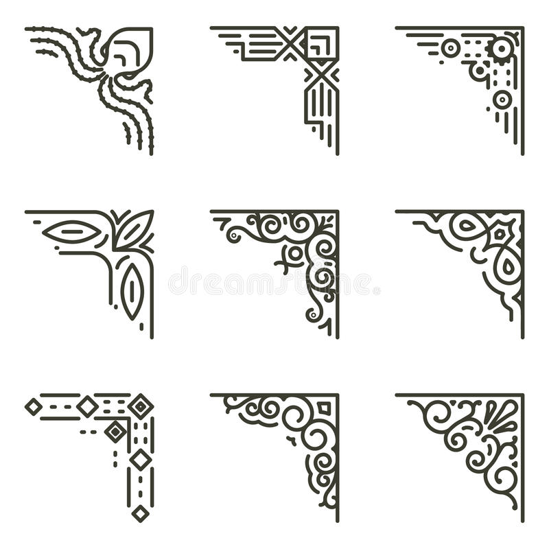 Vector Calligraphic Line Corners For Vintage Frames Stock