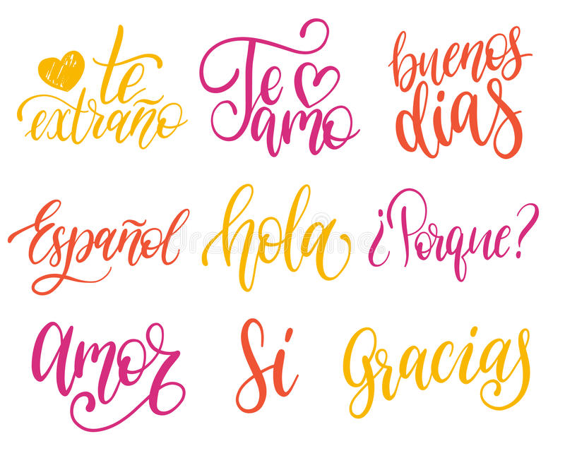 Vectorigraphic Set Of Spanish Translation Of Thank You Good Day Why I Love You I Miss You Spanisho Love Yes Phrases Common Words Hand