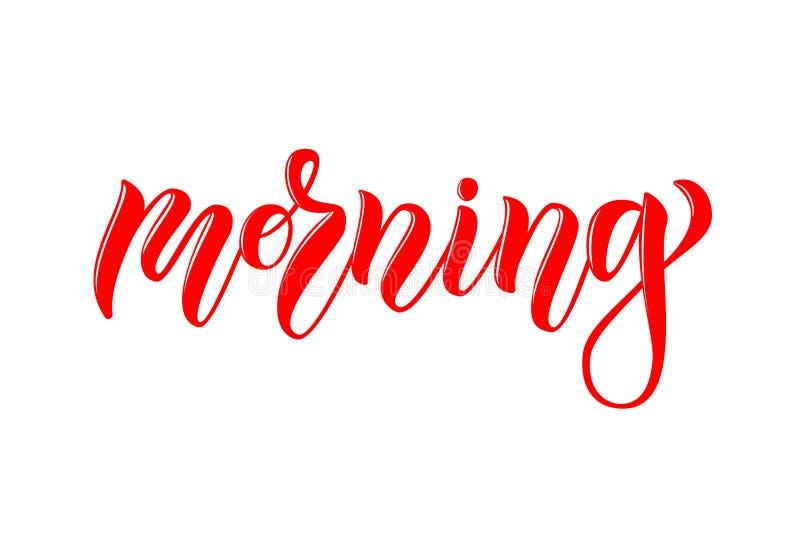 Vector calligraphy lettering morning for online website vector illustration