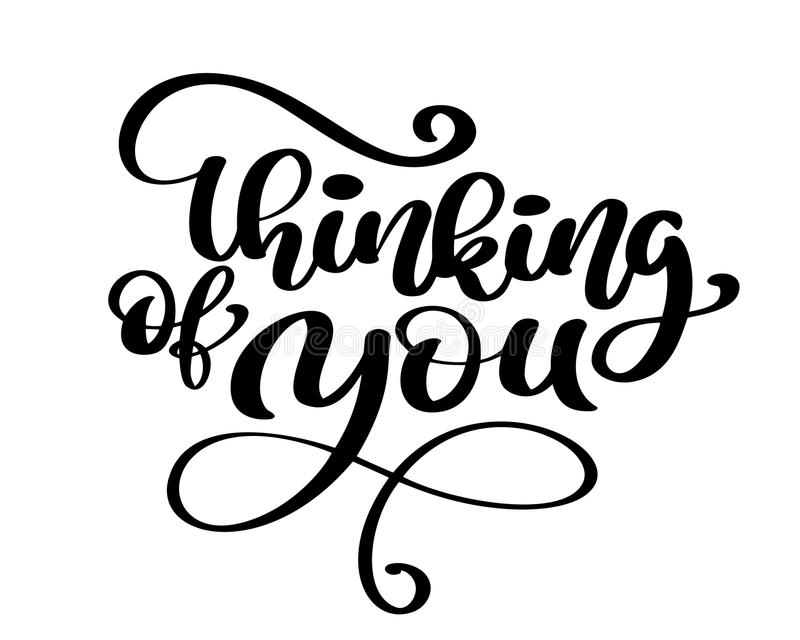 Vector calligraphy thinking of you hand drawn text phrase poster