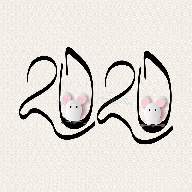 Vector calligraphy 2020 year of the rat sign lettering numbers calendar home page greeting card design template. Rats royalty free stock photos