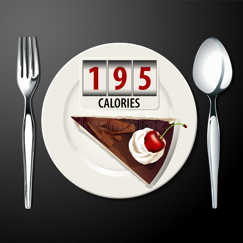 Vector of Calories in Black forest cake. EPS.10 vector illustration