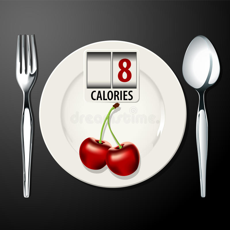 Vector of Calories in Cherry. EPS.10 stock illustration