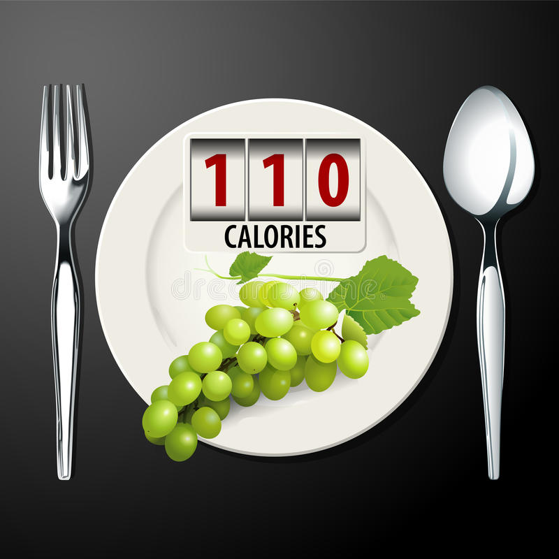 Vector of Calories in Green Grapes. EPS.10 vector illustration