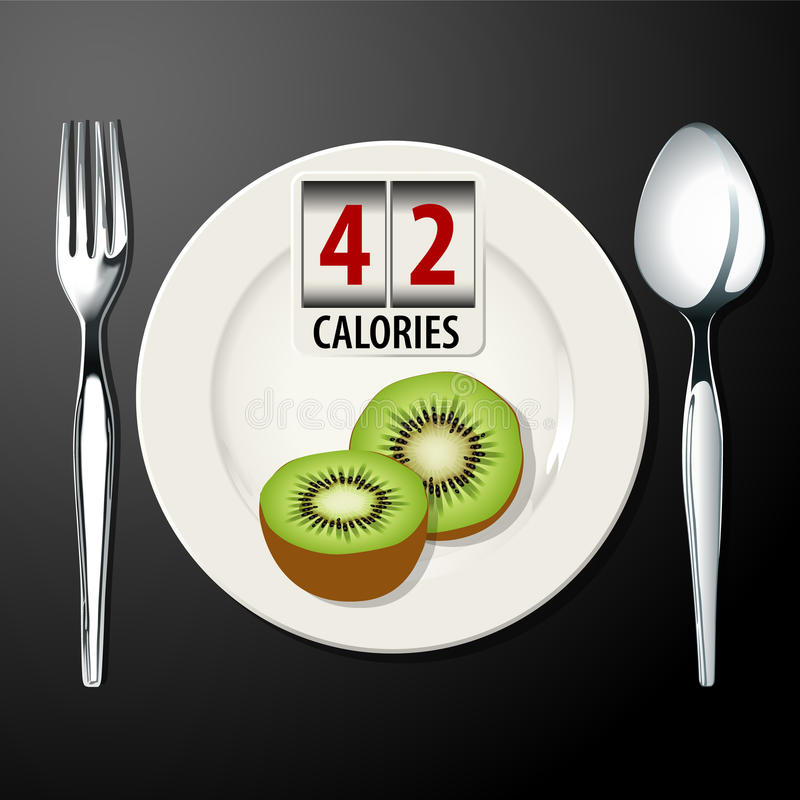 Vector of calories in kiwi. EPS.10 stock illustration