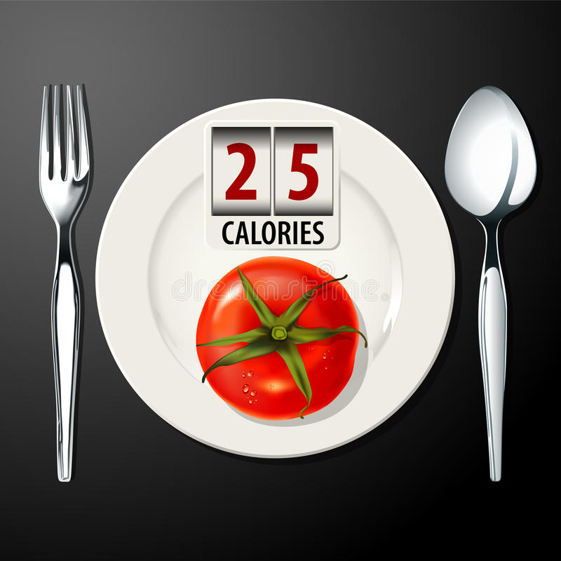 Vector of Calories in Tomato. EPS10 stock illustration