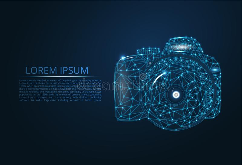 Vector camera. Abstract polygonal skeleton illustration of a camera on a dark blue night sky background. With dots and stars, figures of glass stock photography