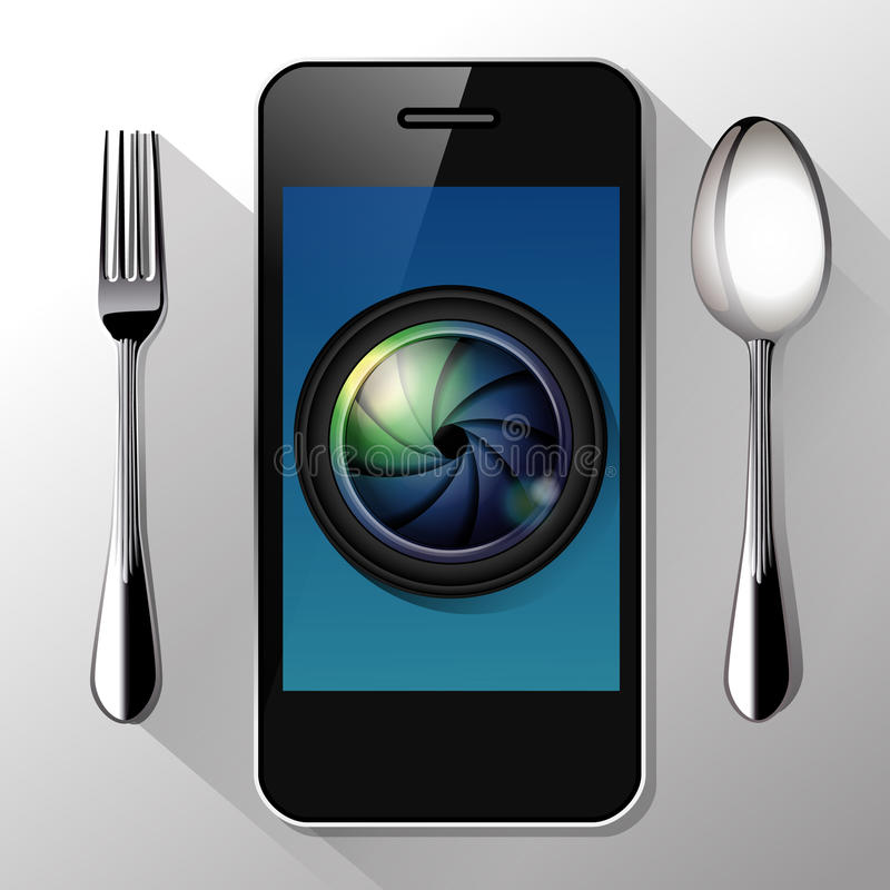 Vector of Camera lens on smart phone. Food Photography concept stock illustration