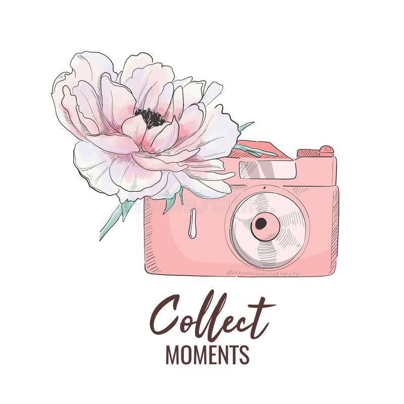 Vector camera with peony illustration. Collect moments vintage t-shirt print. Photo technology symbol. Pink girly poster stock illustration