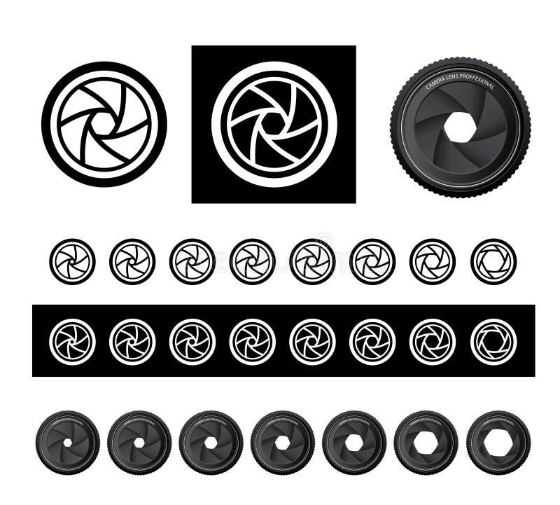 Vector camera shutter apertures. In three styles vector illustration