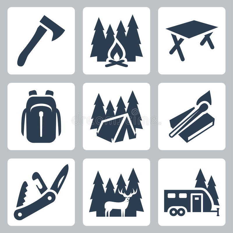 Vector Camping Icons Set Stock Vector Illustration Of
