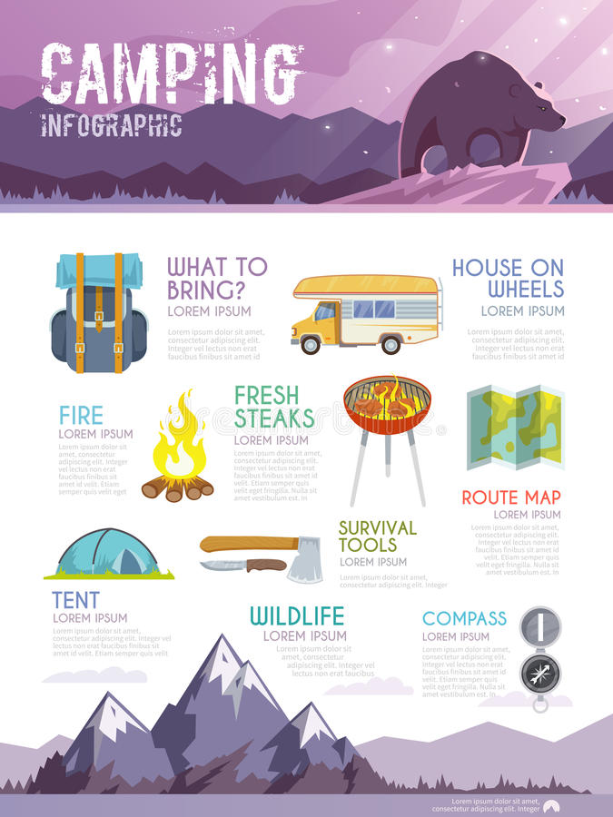 Vector camping web infographic. Colourful camping vector infographic. The concept of infographic for your business, web sites, presentations, advertising etc royalty free illustration