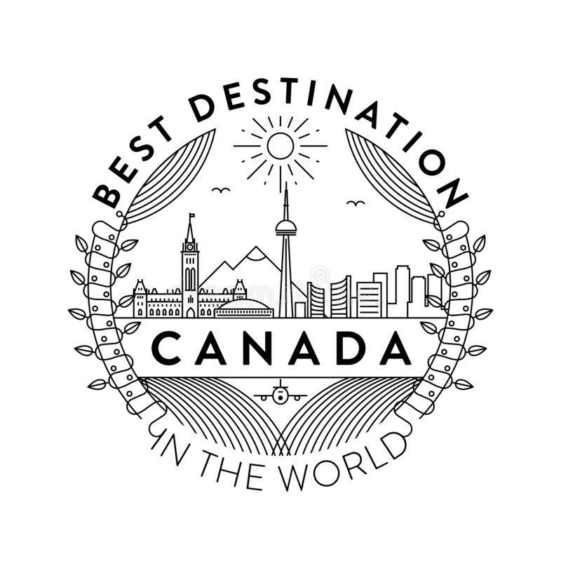 Vector Canada City Badge, Linear Style royalty free illustration