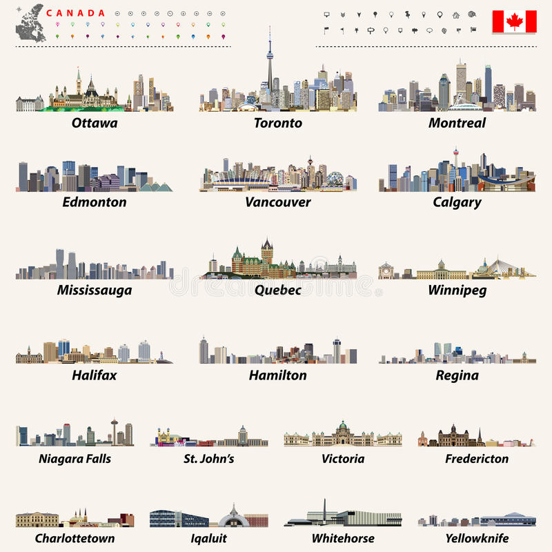 Vector Canada largest cities and all states capitals skylines. Canada largest cities and all states capitals skylines with location icons and canadian map and royalty free illustration