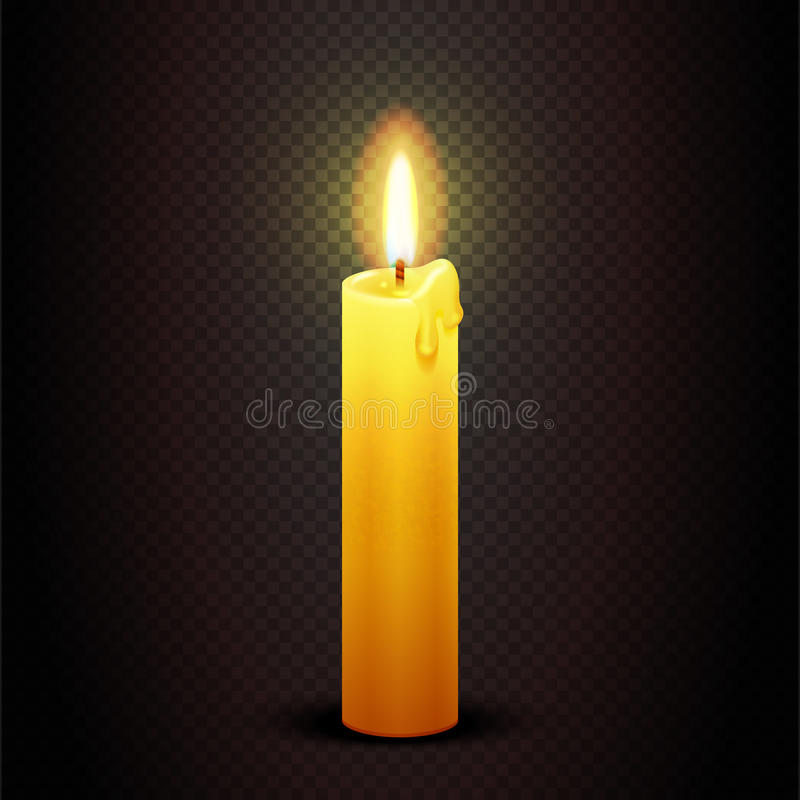 Vector candle with flame on transparent checkered dark background, candlelight christmas and birthday card template vector illustration