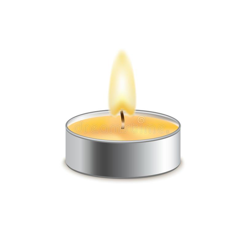 Vector candle wax isolated decoration. Candlelight flame for celebration. Glowing realistic candle light on transparent.  stock illustration