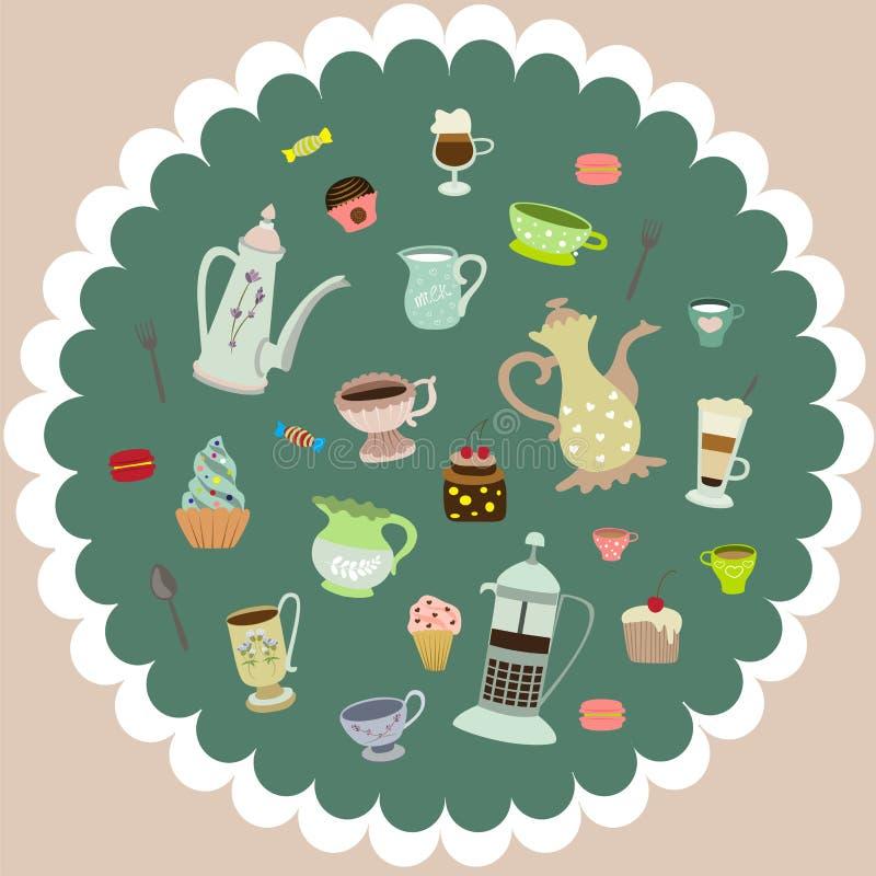 Vector canecas do chá, bolos, potenciômetros do café ilustração royalty free