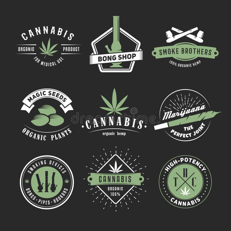 Vector cannabis badges. Set of marijuana logos with hemp leaves, joints, bongs and smoking devices on a black background royalty free illustration