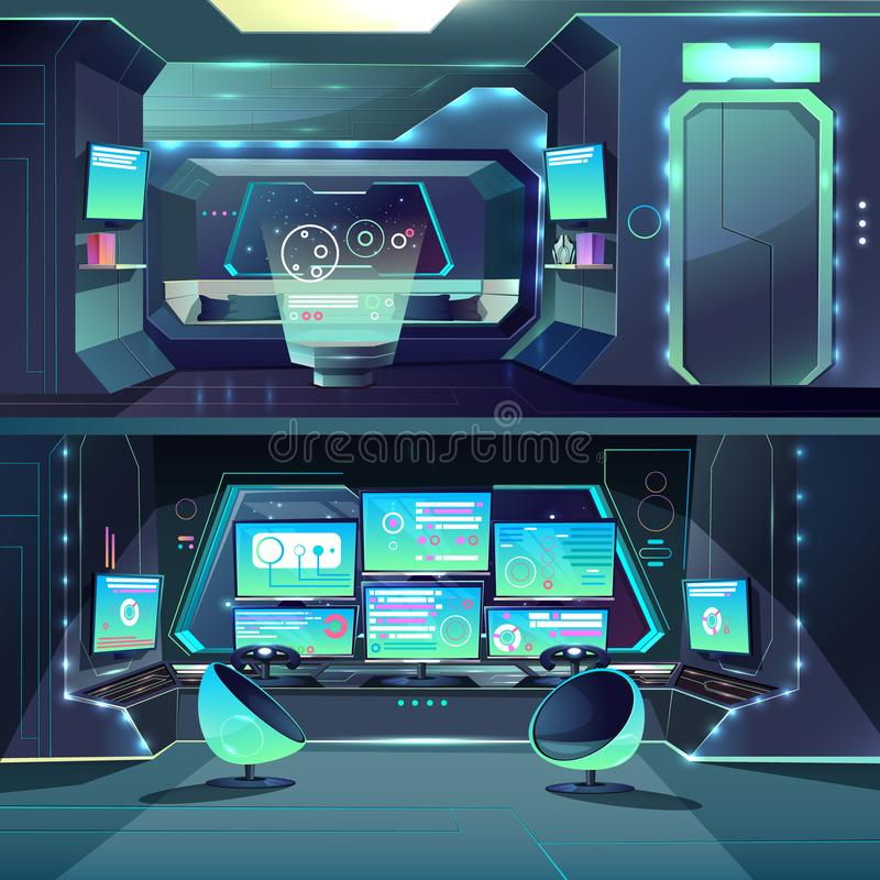 Vector futuristic spaceship datacenter, interfaces and servers. royalty free illustration