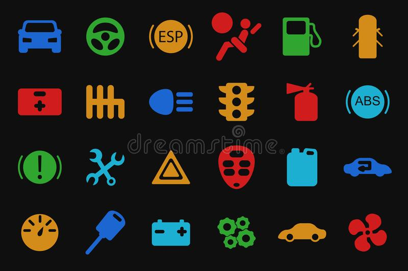 Vector car icons set. stock illustration