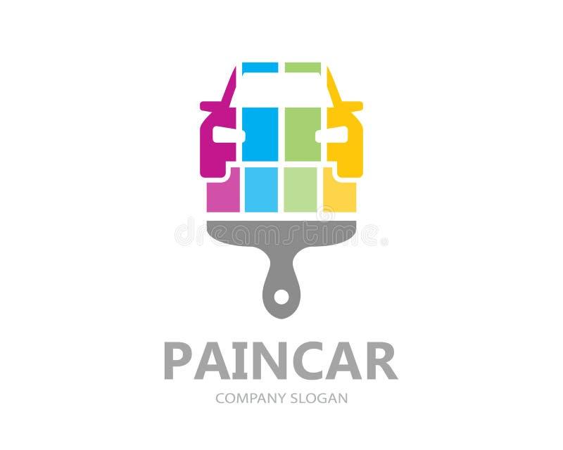 Vector car paint logo template design. Creative car symbol or icon stock illustration