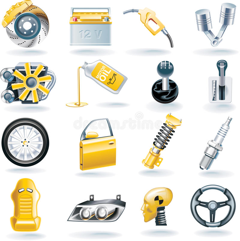 Free Vector Car Parts Icon Set Royalty Free Stock Photography - 9856797