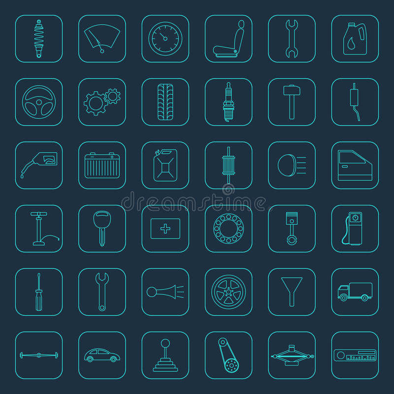 Vector car parts icons stock illustration