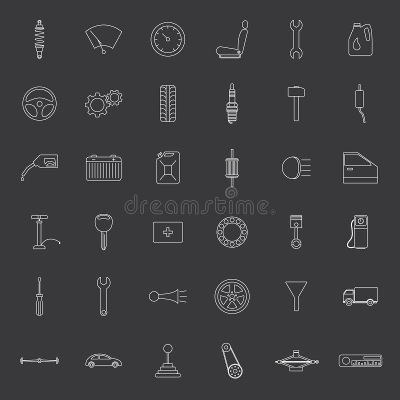Vector car parts. Icons set. royalty free illustration