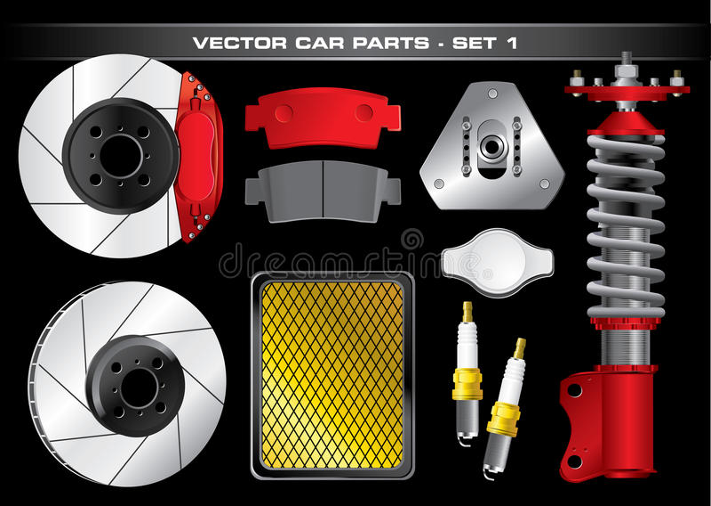 Vector Car Parts-Set 1 stock illustration