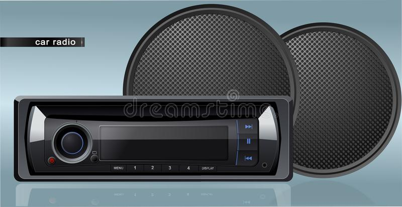 Vector car radio with speakers stock illustration
