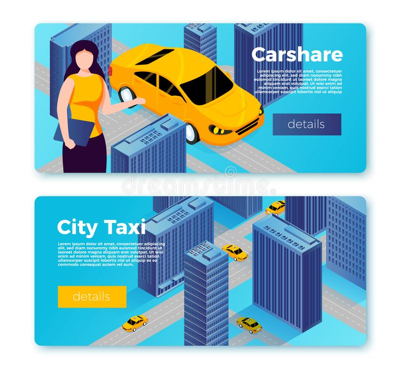 Vector car share and taxi service banners concept. Vector car share and taxi service banner templates concept, girl offering to share cab and city map with royalty free illustration