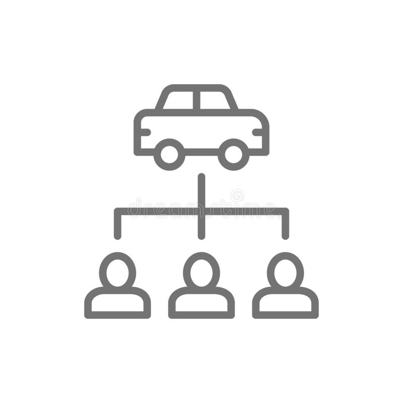 Vector car sharing service, carsharing line icon. Symbol and sign illustration design. Isolated on white background royalty free illustration