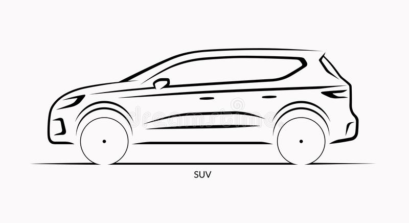 vector car silhouette  side view of suv stock vector