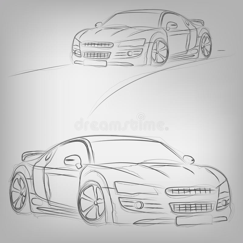 Vector Car Sketch Royalty Free Stock Photo