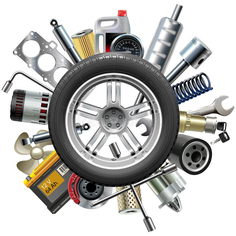 Vector Car Spares Concept with Wheel royalty free stock image