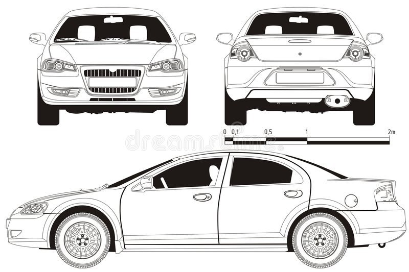 Vector car technical draft stock photography