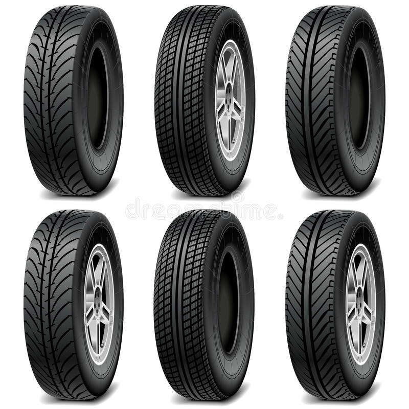 Vector Car Tires. On white background royalty free illustration