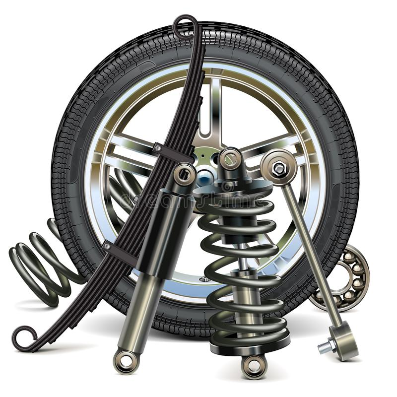 Vector Car Wheel with Suspension Parts vector illustration