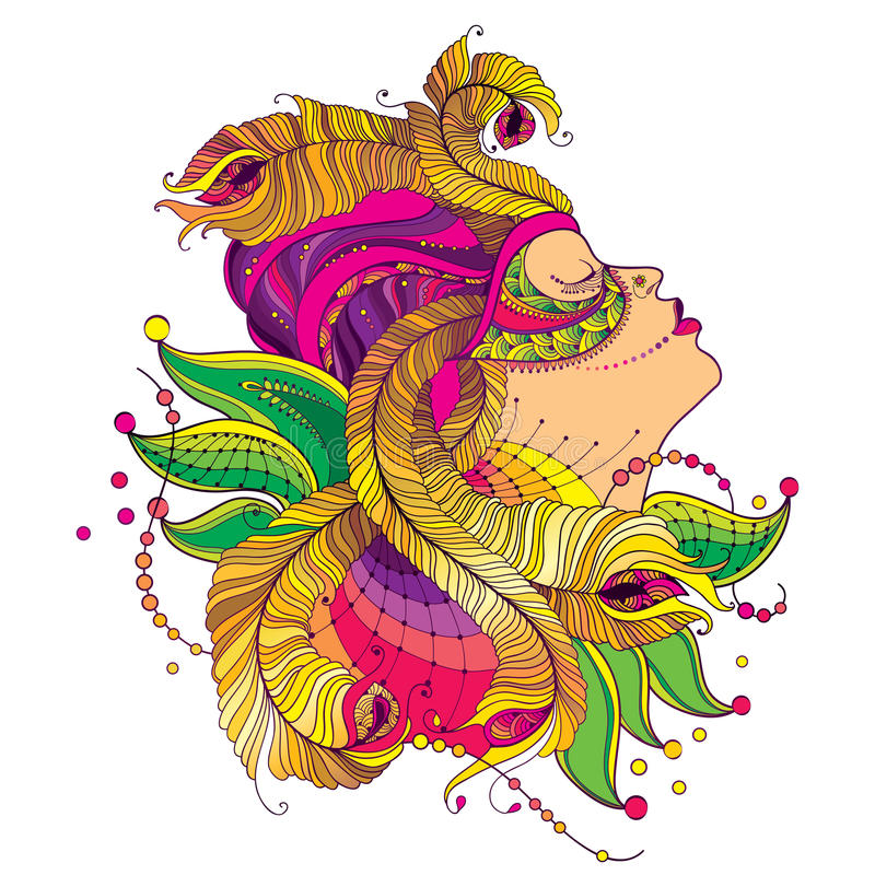 Vector a cara da menina do perfil na máscara do carnaval com as penas douradas do pavão do esboço, o colar ornamentado e os grânu ilustração stock