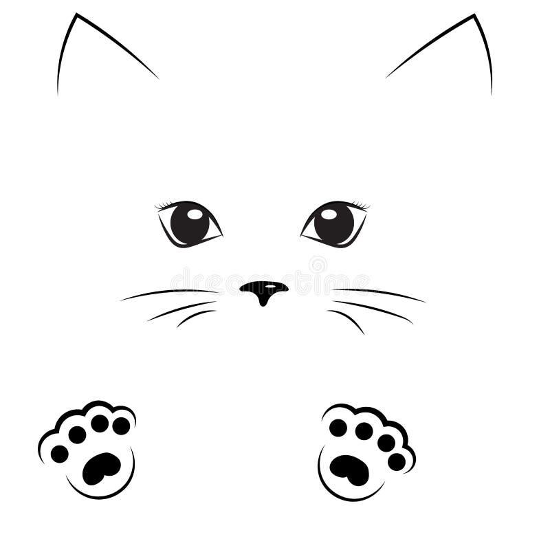 Vector a cara preta do gir do gato do desenho de esboço com patas ilustração stock