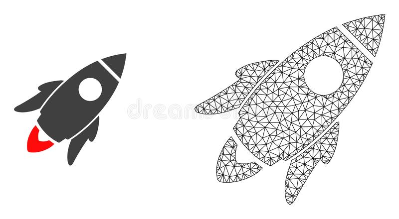 Vector Carcass Mesh Space Rocket and Flat Icon vector illustration
