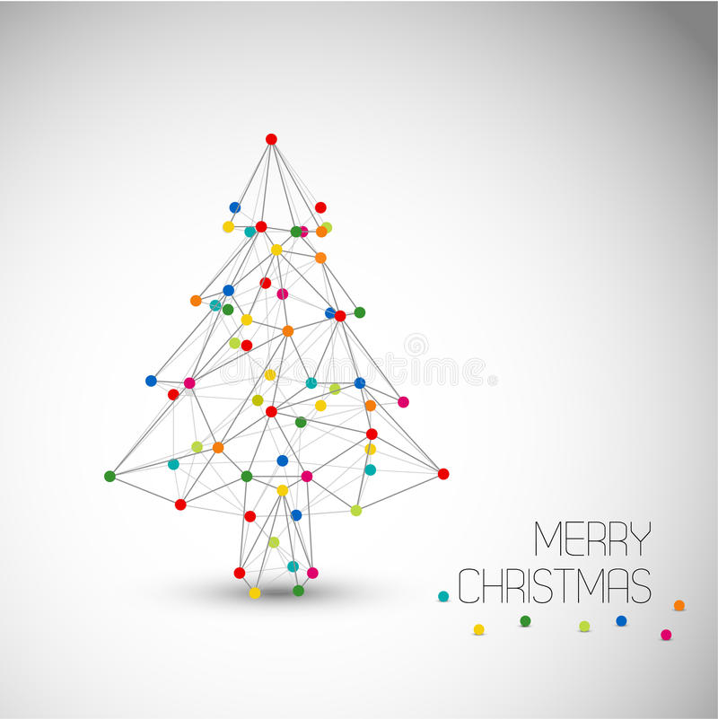 Vector card with abstract christmas tree made from lines and dots stock image